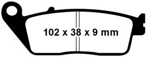 Dimensions des plaquettes de freins SFA 142 : 102 x 38 x 9 mm